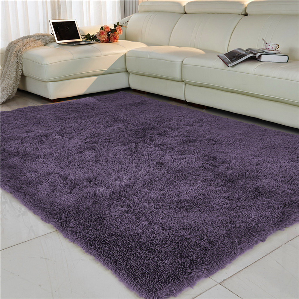 Living Room Carpet European Fluffy Mat Kids Room Rug Bedroom Mat Antiskid Soft Faux Fur Area Rug Rectangle Mats Gray Red Green