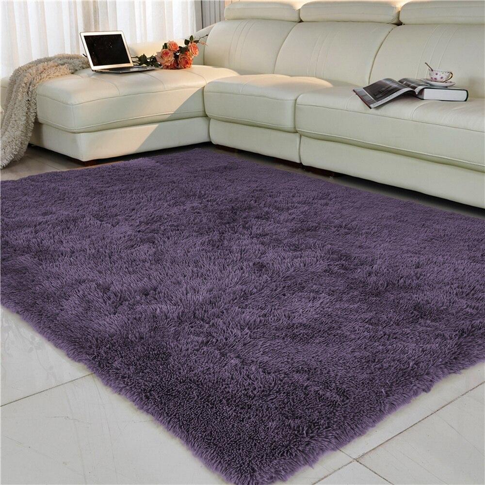 Living Room Carpet European Fluffy Mat Kids Room Rug Bedroom Mat Antiskid Soft Faux Fur Area Rug Rectangle Mats Gray Red Green