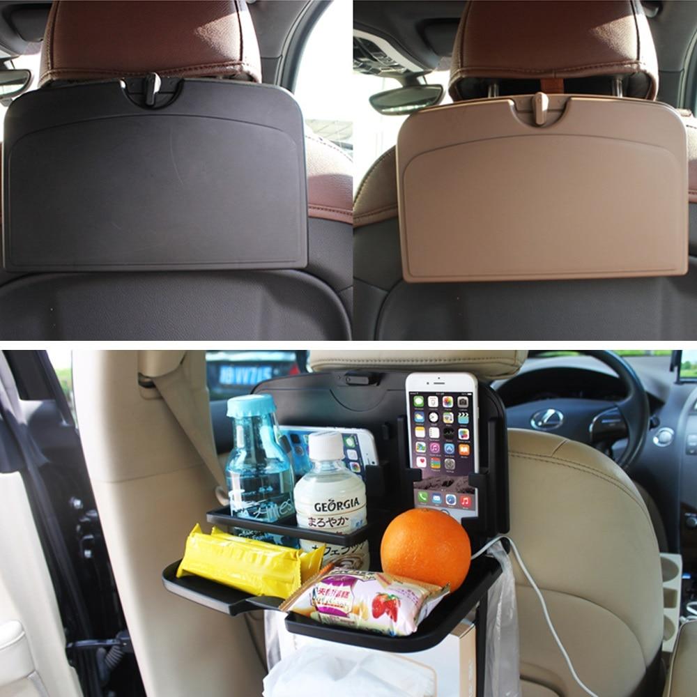 Car Seat Back Foldable Table Organizer Tray Travel Storage Bottle Rack Holder
