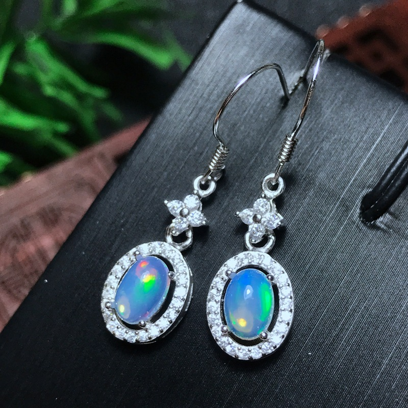 [MeiBaPJ Natural Opal Gemstone Fashion Drop Earrings for Women Real 925 Sterling Silver Charm Fine Jewelry wholesale new fashion trendy 925 sterling silver zircon natural gemstone crystal green diopside pendant drop earrings for women