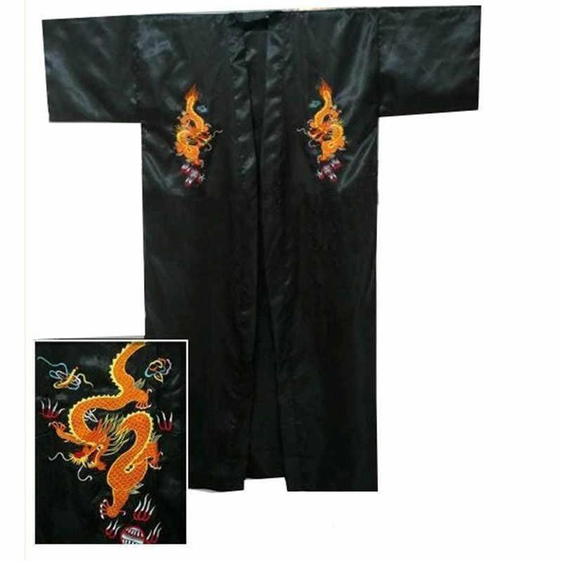 送料無料紺中国の男子サテンシルクローブ刺繍着物バースガウンドラゴンサイズ SML XL XXL XXXL S0103-E