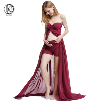 Clearance! Soft Chiffon Maternity Photography Gown Boob Tube Dress Split Front Baby Shower Dress for Fotografia Prop with Shorts цена 2017