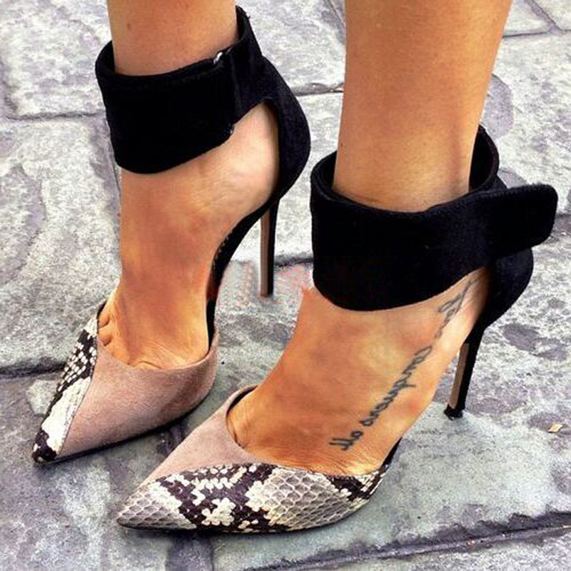 MoBeiNi Sexy Women Pumps Contrast Mixed Color Ankle Strap High Heel Stiletto Party Clubwear Shoes Woman Pointy Toe D'orsay Pumps mobeini women high heel stiletto sexy fetish party clubwear shoes peep toe tassel fringe lace up ankle strap platform pump shoes