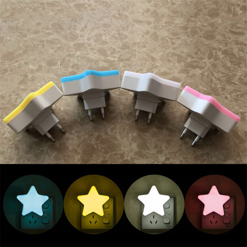 Mini Star LED Night Light AC110/220V Pulg-in Wall Socket Bedside Lamp EU/US Light Sensor Control Novelty Children Night Lamp B