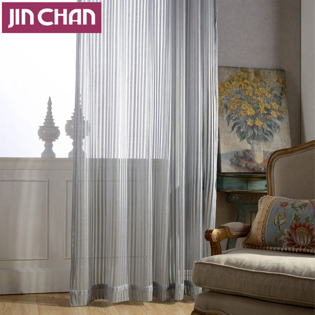 Grey Hollow Out Polyester Modern Sheer Curtains For Living Room The Bedroom Voile Window Treatments Curtain
