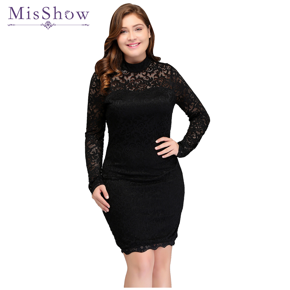 Cheap cocktail dresses plus size Women\'s Sexy Lace Long Sleeve Knee ...
