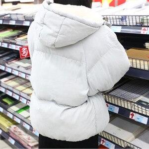 Image 5 - Übergroßen Mäntel Winter Jacke Frauen Und Männer Paare Parka Kapuze Lämmer Wolle Jacken Chaquetas Mujer Kurze Baumwolle Winter Mantel C5669
