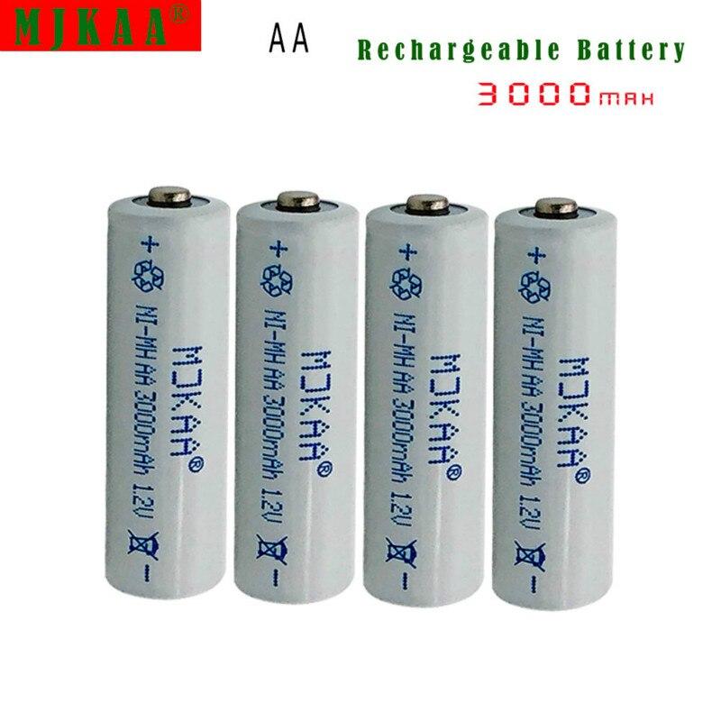 4 Uds AA 3000mah 1,2 V batería 2A recargable NiMH batería para juguetes de luz LED Mp3