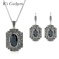 KCALOE Vintage Black Crystal Necklace And Earring Set Square Design Antique Silver Plated Rhinestone Women Jewellery