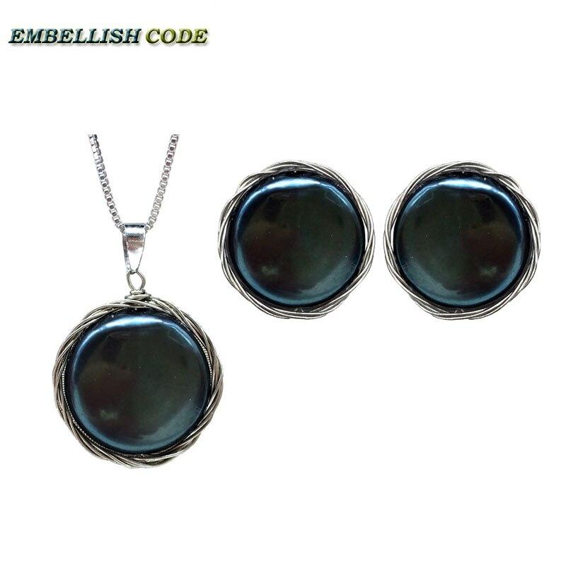 Collier pendentif en perles baroques faites à la main collier pendentif en fil de couleur argent noir pièce plate ronde perles naturelles bijoux pour femmes