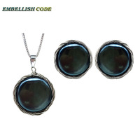 Handmade baroque pearl set stud earrings pendant necklace black silver color wire flat round coin natural pearls women Jewellery