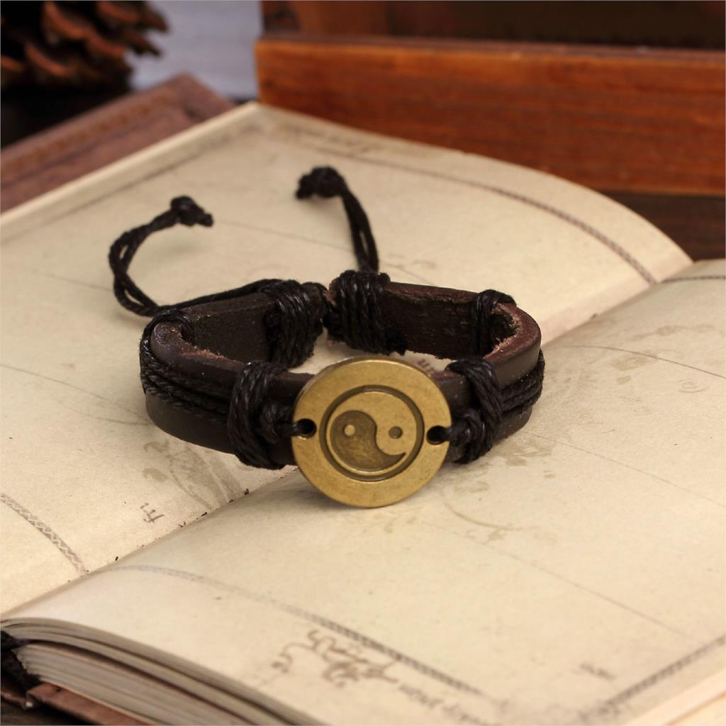2015 Genuine Leather Tai Chi Charm Bracelet Cuff Braided Wrap Antique Bronze Pendant Bracelet & Bangles Fashion For Women Men