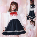 Princess sweet lolita dress  Exclusive design  girl heart through yarn lace dress uniforms seaman D1342
