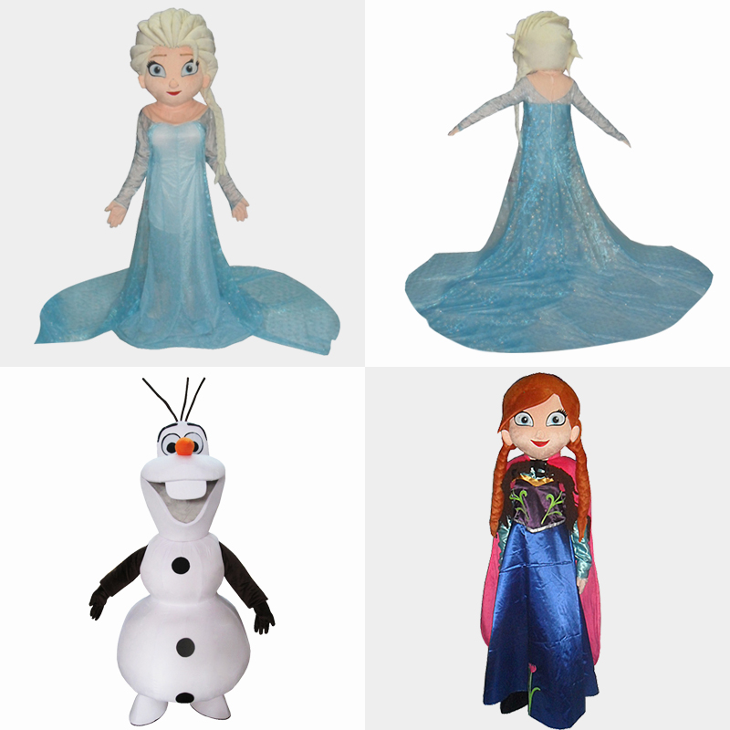 cosplay costume Olaf mascot costume Elsa queen mascot costume and princess  Anna mascot Adult size