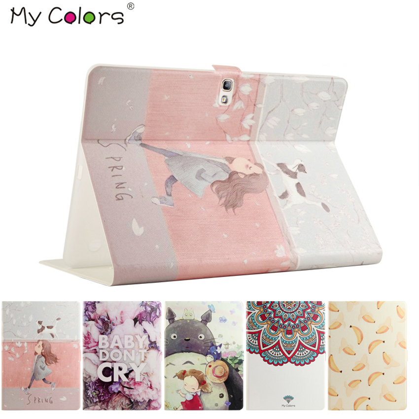 Tab S T800 Flip PU Leather Case Cover Colorful Print Smart Fundas For Samsung Galaxy Tab S T800 10.5 inch Protectie Stand Skin tab a t580 10 1 pu leather case cover colorful print slim folder folio protective stand fundas for samsung galaxy taba 10 1 t580