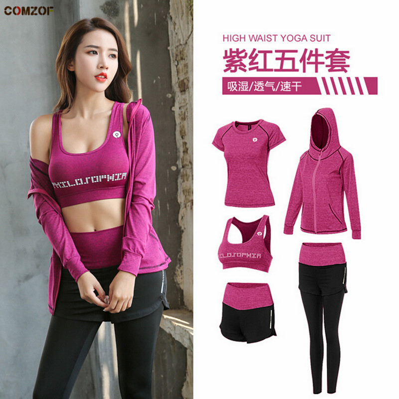 High waist pants shorts t shirt bra coats women yoga 5 pieces set fitness gym clothing outdoor sports running quick dry sets in Yoga Sets from Sports Entertainment