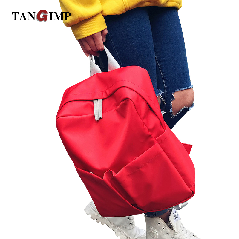 TANGIMP Student Backpacks Nylon Leisure Lovers Red Schoolbags with 2 Big Pockets Front Shoulder Bag for Girls Boys Korean Style objective ielts advanced student s book with cd rom