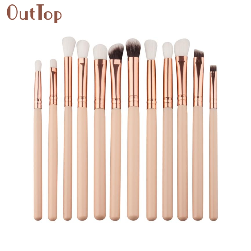 Beauty Girl Hot Popular 12Pcs Mini Cosmetic Eyebrow Eyeshadow Brush Makeup Brush Sets Kits Tools Nov