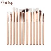 Beauty Girl Hot Popular 12Pcs Mini Cosmetic Eyebrow Eyeshadow Brush Makeup Brush Sets Kits Tools Nov 1