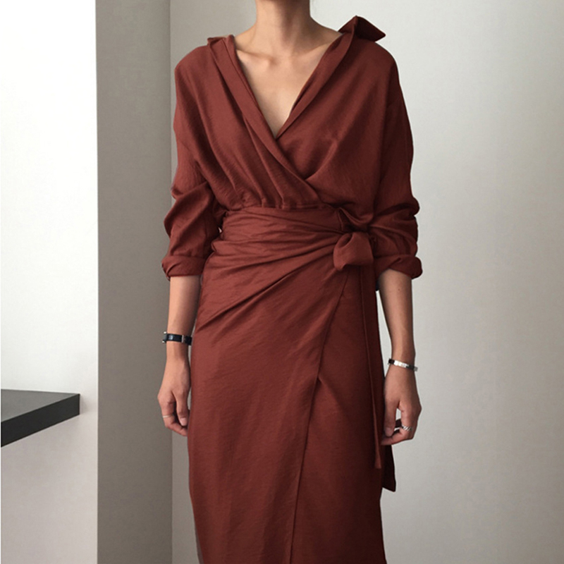 2019 Spring Autumn Irregular Bag Hip Women Dress Strap V-neck Long Sleeve Solid Dress Casual Elegant Party Dress With Sashes