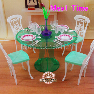 Free shipping children play house girls toys birthday gift dinner table set accessories for barbie doll