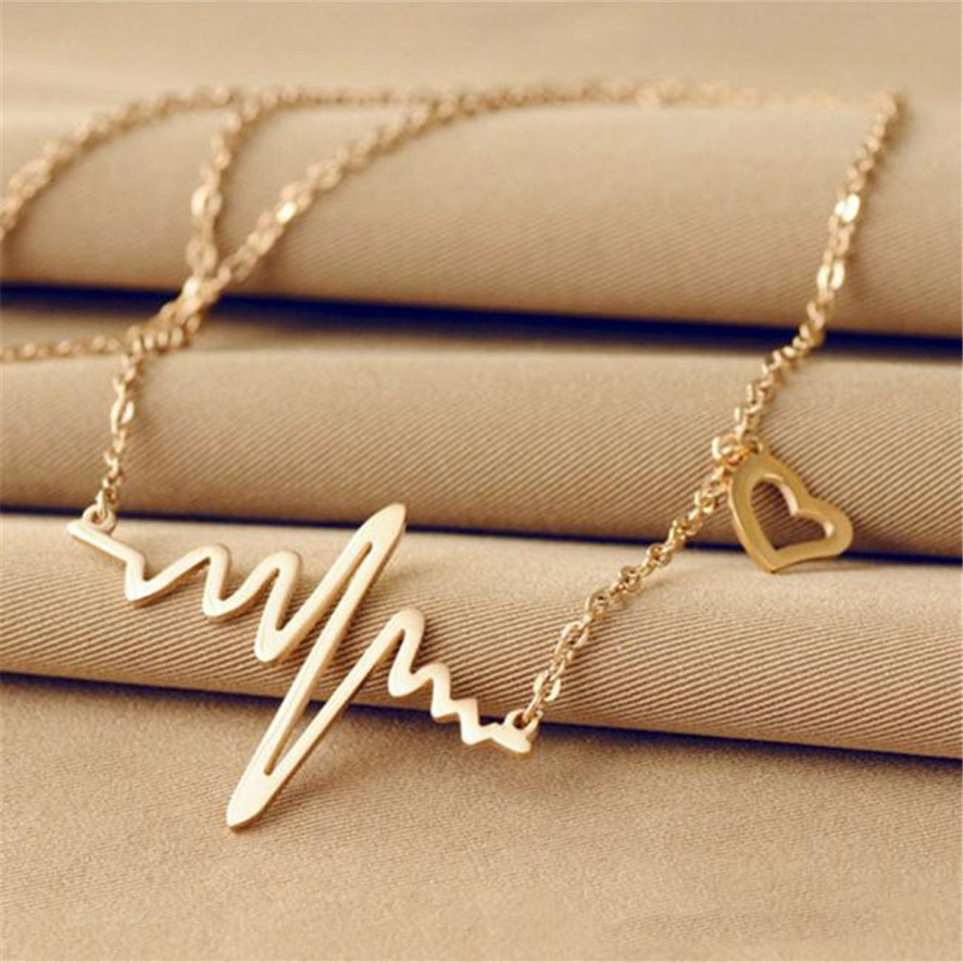 HOT Brand Womens Fashion New Women EKG Necklace Heartbeat Rhythm with Love Heart Shaped ...