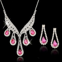 Luxurious Pink Crystal Rhinestone Wedding Jewelry Sets Bridal Imitate Diamond Jewelry Women Valentine's Day Gift SET140011117