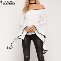 2017 ZANZEA Womens Sexy Slash Neck Off Shoulder Striped Flare Sleeve Flouncing Casual Party Summer Blouse