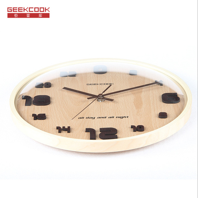 Top 24 Hours Wall Clock 31.5cm 3D simple living room wall clock Mute quartz wall clock Round Wood Style Vintage Creative design