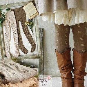 Image 1 - Primavera outono mori menina feminino elástico algodão lolita meias pequeno jacquard arco rústico macacão macio elástico elegante meias d105