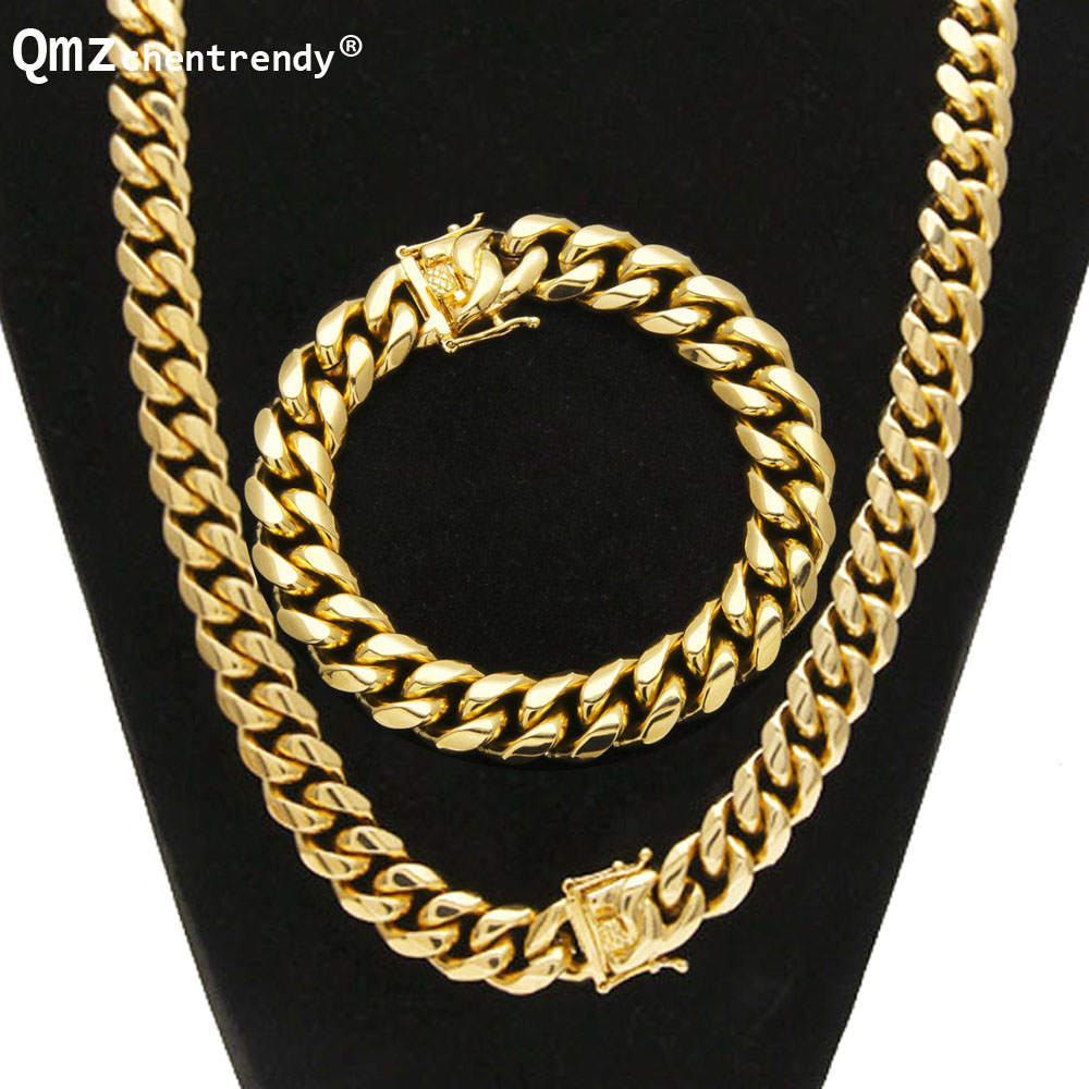 Punk 8mm/10mm/12mm/14mm Stainless Steel Curb Cuban Chain Necklace Bracelet Boys Mens Fashion Chain Dragon Clasp jewelry Sets-in Jewelry Sets from Jewelry & Accessories    1