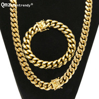 Punk 8mm/10mm/12mm/14mm Stainless Steel Curb Cuban Chain Necklace Bracelet Boys Mens Fashion Chain Dragon Clasp jewelry Sets