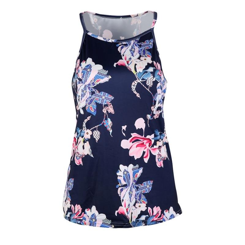 Summer Women T-shirt Sexy Tops Sleeveless Flower Printed Female Camis Tops Ladies Chiffon Shirt Slim Tee Shirt
