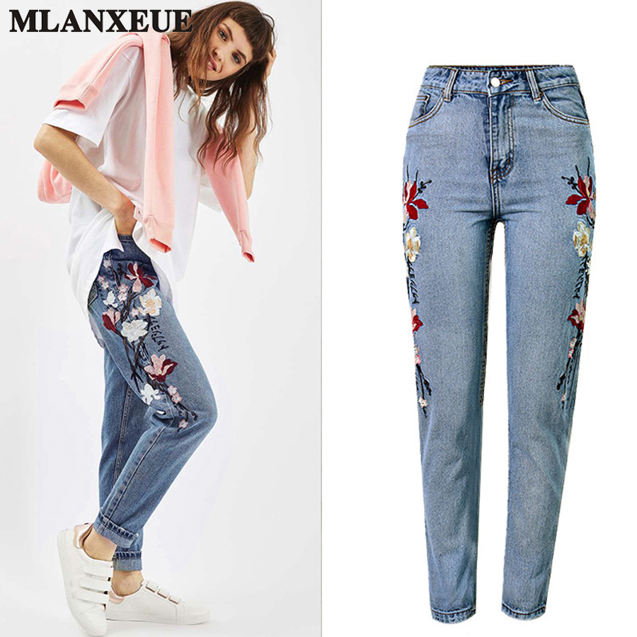 High Waist Embroidered Jeans Woman Fashion Slim Straight Pants Casual  Blue Ripped Jeans 2017 Summer New Denim Retro Plus Size dsel brand men jeans denim white stripe jeans mens pants buttons blue color fashion street biker jeans men straight ripped jeans