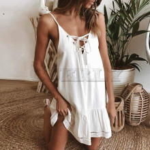 CUERLY Summer Cotton Linen Dress Women A Line Mini Strap Off Shoulder Lace Up Hollow Out Beach Bohemian Sexy
