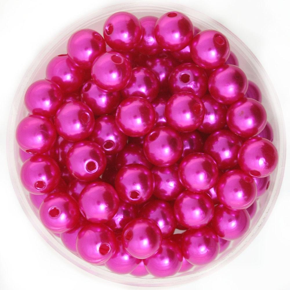 Диаметр около 10 мм 180 шт./лот фуксия цветные круглые Имитационные пластиковые жемчужные бусины оптом и в розницу для самостоятельного изгот...