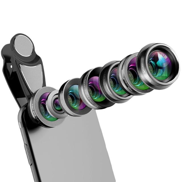 Объектив для камеры телефона, 7 в 1 комплект для объектива сотового телефона для Iphone и Android, Широкоугольный макро объектив с рыбий глаз круговой поляризационный фильтр калейдоскоп и 2X Te