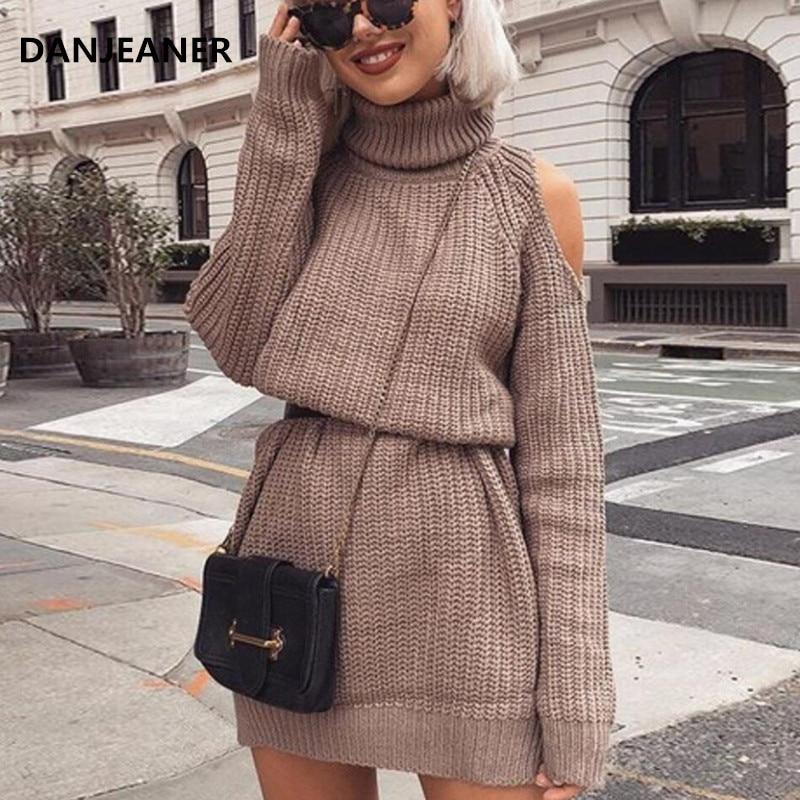 Danjeaner Autumn Winter Turtleneck Off Shoulder Knitted Sweater Dress Women Solid Slim Plus Size Long Pullovers Knitting Jumper