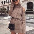 Женское трикотажное платье-свитер danganer  Длинный Облегающий свитер с высоким воротом и открытыми плечами большого размера