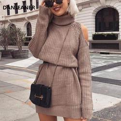 Danjeaner осень зима с высоким воротником, с вырезами на плечах вязаный свитер платье для женщин сплошной тонкий плюс размеры Длинные пуловеры