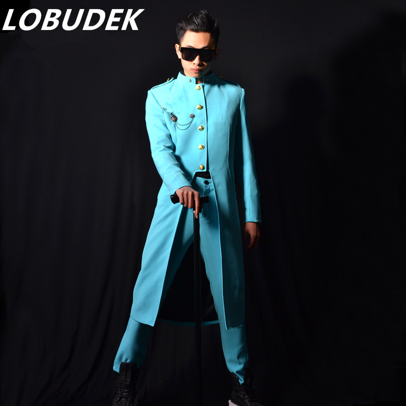 Green Blue Long Jacket Trench Coats Men  Party Prom Dancer Singer Performance Show Clothing Outdoors Slim Wear