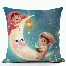 Ramadan Kareem Cushion Cover Linen Cotton Colorful Throw Cover Bantal Castle Lantern Moon Printed Sofa Chair Eid Mubarak