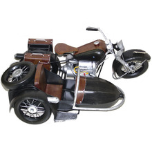 Vintage Sidecar Motorcycle Model Metal Motorbike Figurine Cafe Decoration Iron Retro Motor Bicycle Ornament Photography Props