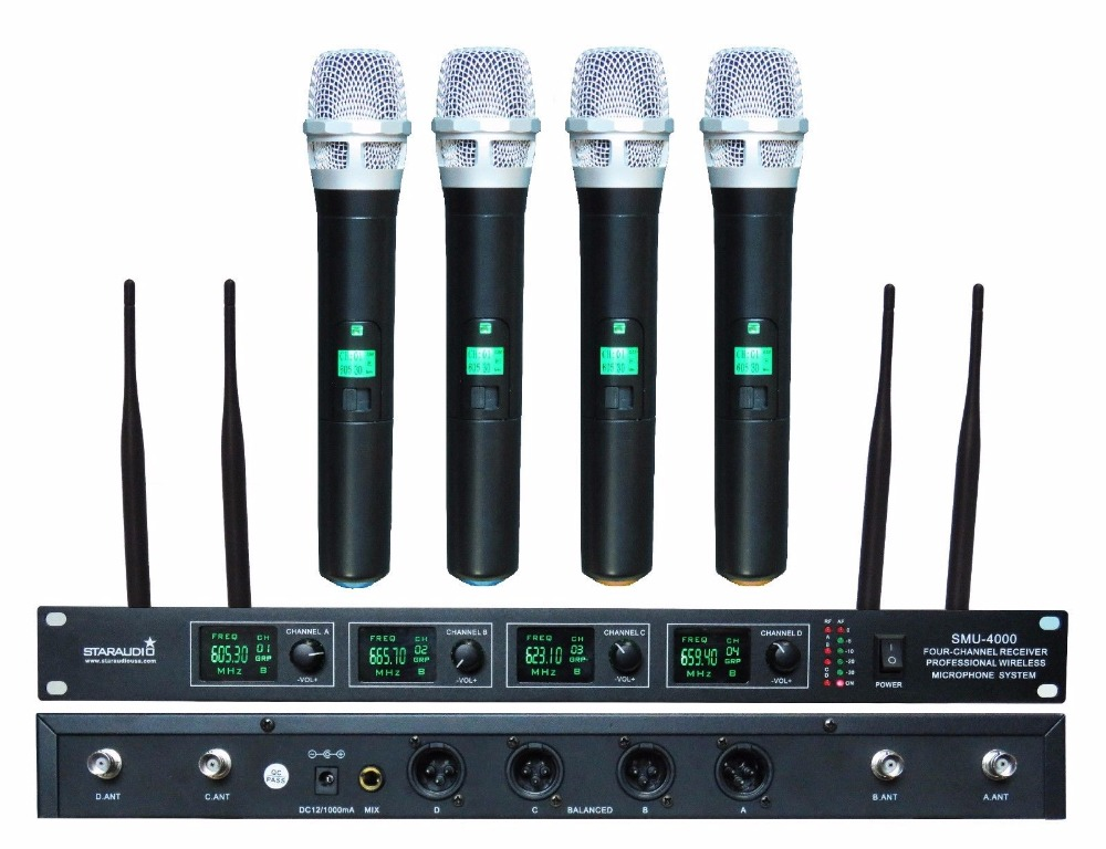 STARAUDIO SMU-4000A Pro PA DJ 4 Channel UHF Stage Church Karaoke Wireless Handheld Microphone System Mic general packaging single channel uhf vocal wireless microphone professional for ktv karaoke stage dj singing microphone pgx4
