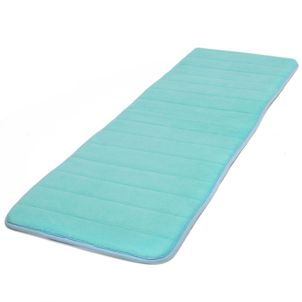 GSFY-120x40cm Absorbent Nonslip Memory Foam Kitchen Bedroom Door Floor Mat Rug Carpet blue