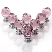 New 8 Pcs Set Pink Rose Crystal Glass Door Knobs Kitchen Cabinet Drawer Handle 22MM With
