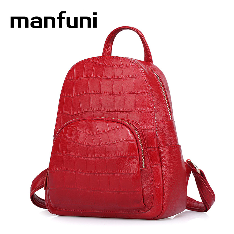 MANFUNI Genuine Leather Backpack Alligator Bags Luxury Women Backpacks For Teenage Girls Bag Real Leather Mochilas Feminina 0841 2016new rucksack luxury backpack youth school bags for girls genuine leather black shoulder backpacks women bag mochila feminina