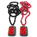 Kostenloser Versand Modeschmuck Kristall Glas Langen Verknotet Handmake Gepflasterte Rot buddha Anhänger Halsketten Frauen Ethnische Halskette