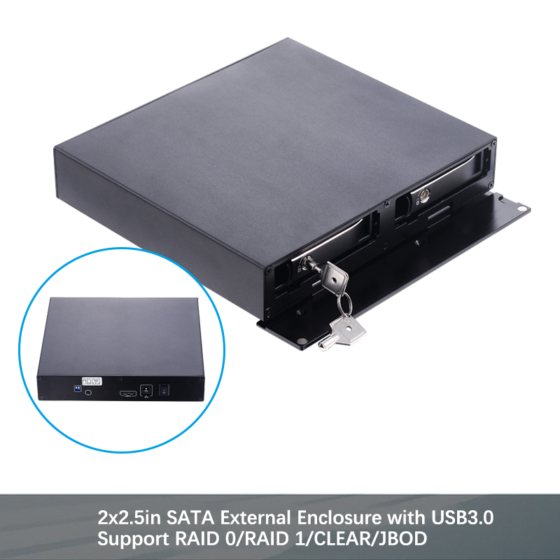 Uneatop Aluminum 2.5in Dual Bay SATA Removable Hot Swap SSD/HDD External Enclosure With USB3.0 RAID Function