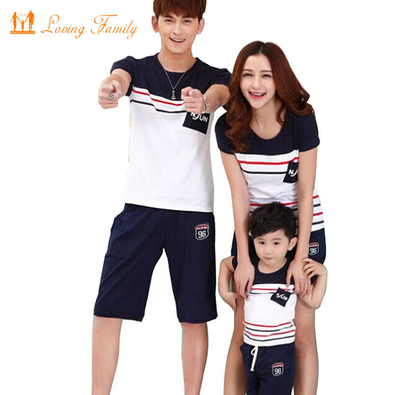 Family Look 2018 Summer Family clothing Mother Daughter Dress Family Matching Outfits Cotton Father Son T-shirt and pant все цены
